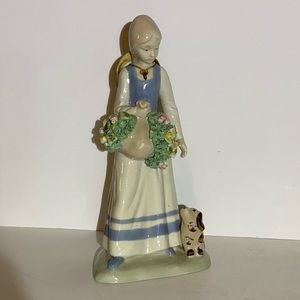 Porcelain figurine Girl With Flowers and  Dog